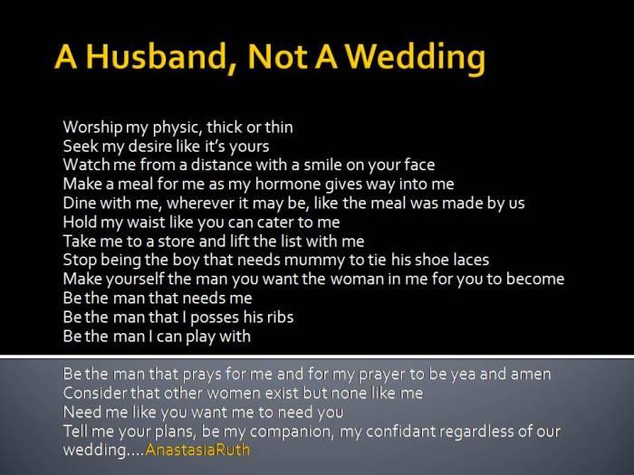 A Husband, Not A Wedding