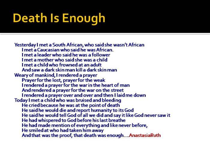 Death Is Enough