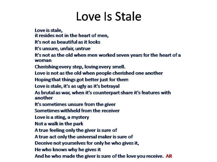 Love Is Stale